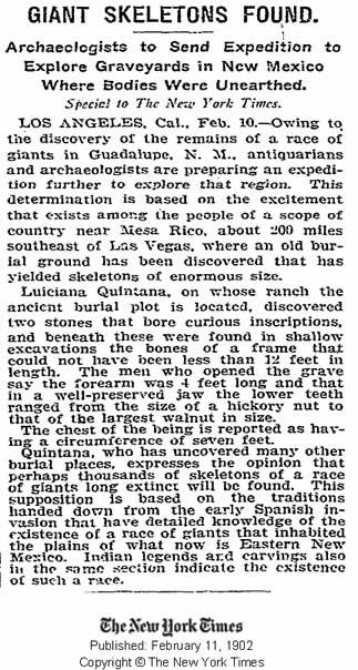 Publicación del New York Times del 11 de febrero de 1902 informando de un esqueleto gigante encontrado. Crédito: New York Times.