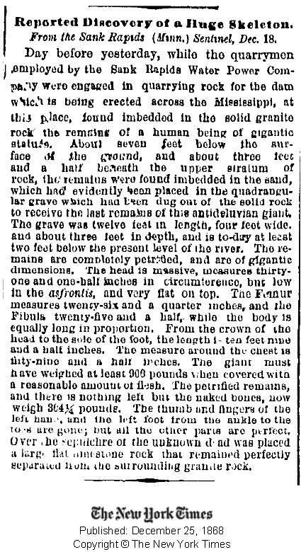 Publicación del New York Times del 25 de diciembre de 1868 informando de un enorme esqueleto encontrado. Crédito: New York Times.