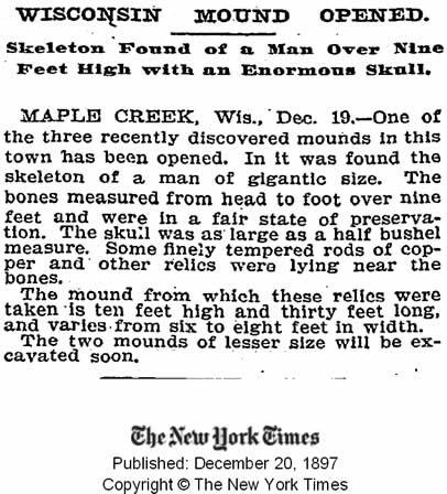 Publicación del New York Times del 20 de diciembre de 1897 informando del esqueleto encontrado de un hombre de 9 pies. Crédito: New York Times.