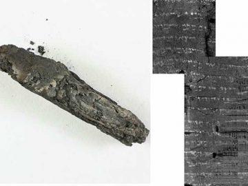 El pergamino quemado que gracias a la tecnología digital pudo ser «desenrollado» y leído parcialmente.
