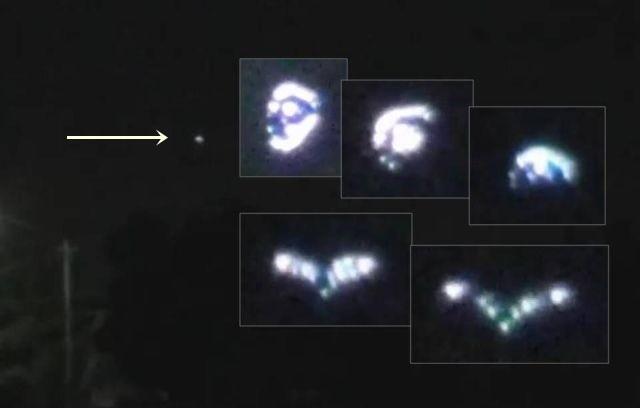 OVNI triangular cambiante de forma grabado sobre Tijuana, México