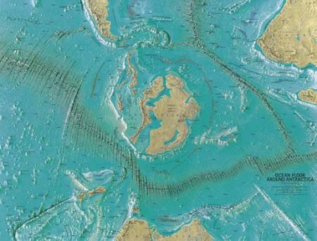 Mapa hecho por Heinrich C. Berann para la National Geographic Society en 1966. Al parecer, muestra la entrada al interior de la Tierra.