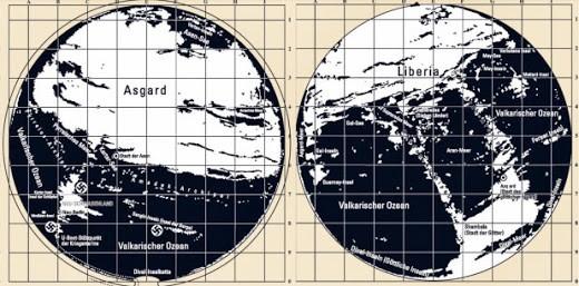 Mapa de 1944 del Tercer Reich que detalla no sólo el pasaje directo utilizado por los submarinos alemanes para acceder a este dominio subterráneo, sino también un mapa completo de ambos hemisferios del reino interior de Agharta.