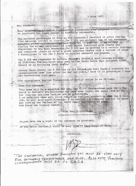 La supuesta carta de Karl Unger sobre la Tierra Hueca. *Citación necesaria.