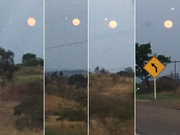 Objeto luminoso junto a la Superluna fotografiado por un residente de Brasilia. Foto: Viviane Taham.