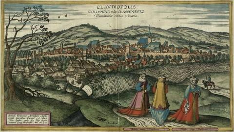 Vista del siglo 17 de Cluj-Napoca. Pintura de Egidius van der Rye, grabado por Joris Hoefnagel (1542-1600). (Wikimedia Commons)