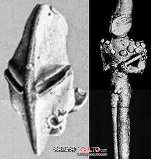 Otra estatuilla que muestra características reptilianas, además de algunos accesorios en el cuerpo y un cetro, inclusive una especie casco que podría relacionarse con la teoría de los antiguos astronautas.