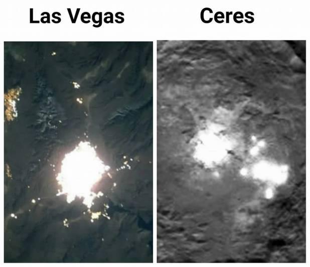 Comparación entre las luces de Las Vegas y las luces de Ceres