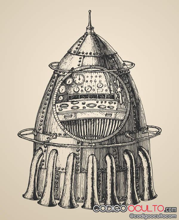 Un cohete espacial en el siglo 19. Es verdad.