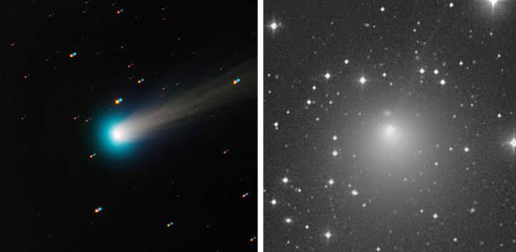Cometa ISON (izquierda) y cometa Encke.