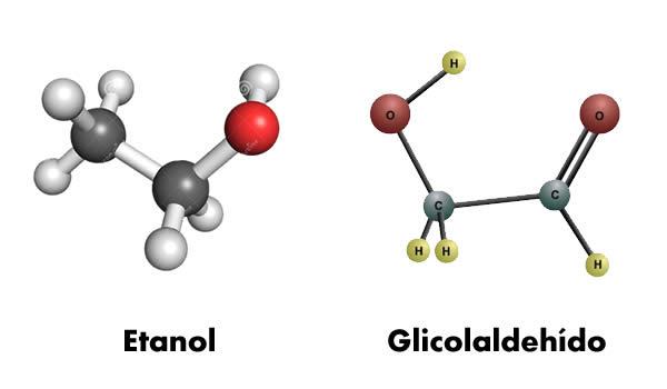 Moléculas de Etanol y Glicolaldehído