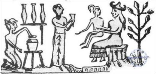La diosa Mammu carga al primer hombre en su regazo