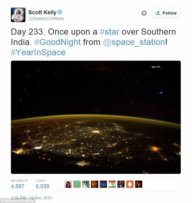 Fotografía enviada desde la ISS por el astronauta Scott Kelly