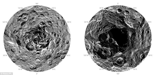 Los misterioso polos Norte (izquierda) y sur (derecha) de Ceres. ¿Una entrada a un mundo oculto?