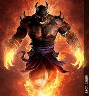 Efreet, de Jason EngleSon los genios del plano elemental de fuego y están hechos de basalto, bronce y llamas.