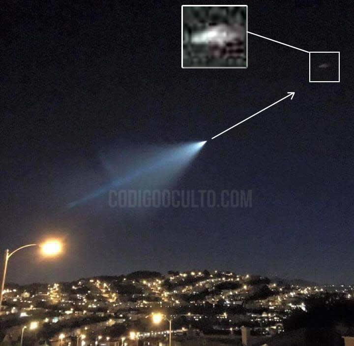 ¿OVNI atacado con un misil en California?