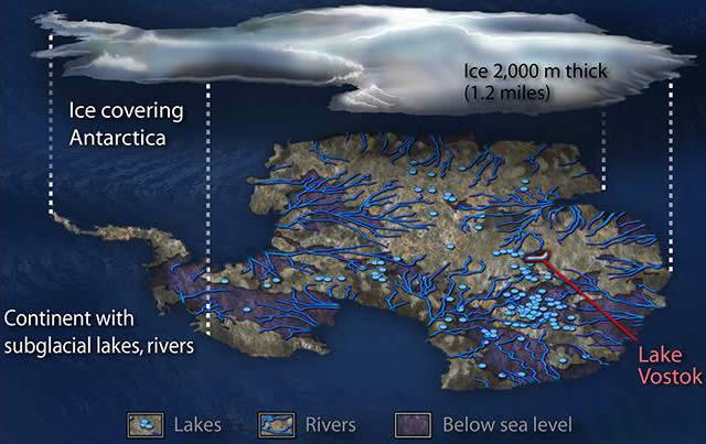 La Antártida separada de su gruesa capa de hielo.