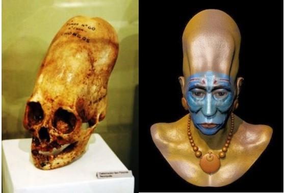 A la izquierda un cráneo Paracas y a la derecha una representación artística de cómo pudo haber sido uno de los individuos de esta cultura.
