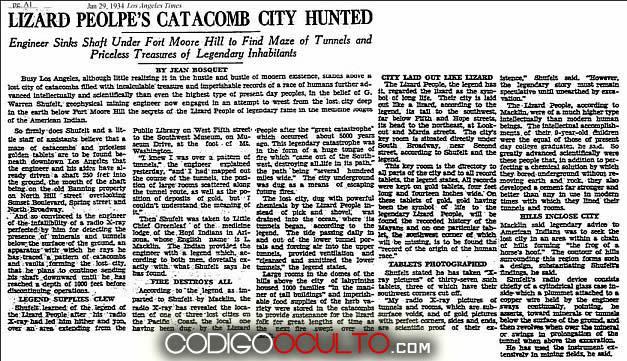 Recorte periodístico que mencionó el descubrimiento de las ciudades subterráneas encontradas