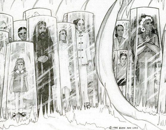 """El dibujo de Betty Andreasson Luca © 1985 de """"la gente de todas las razas y épocas"""" encerrados en recipientes rectangulares transparentes, conservados por seres no humanos a los que llamó """"The Watchers"""", quienes han monitoreado la Tierra desde hace miles de años."""