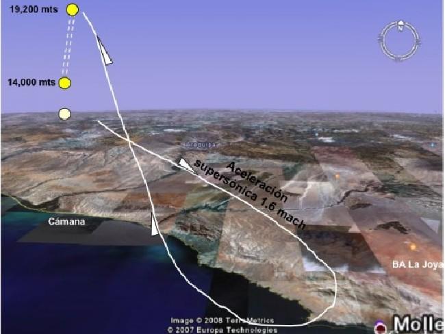 Este diagrama muestra la ubicación mientras el OVNI el avión realizaban maniobras en el aire.