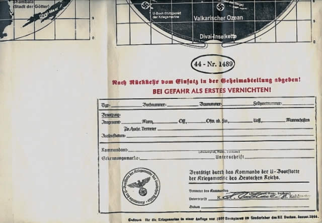 Las instrucciones oficiales nazis para llegar a Agartha por submarino.