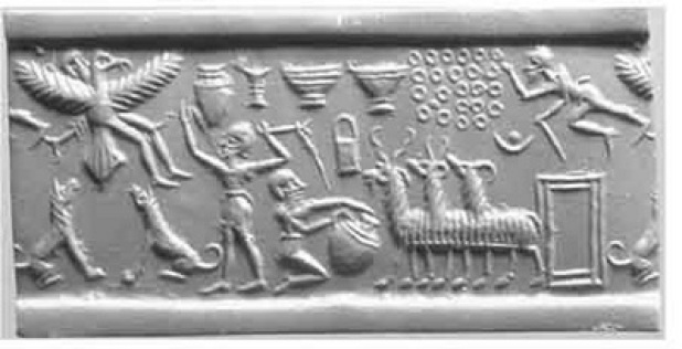 La ascención del Rey Etana mostrada en un grabado antiguo