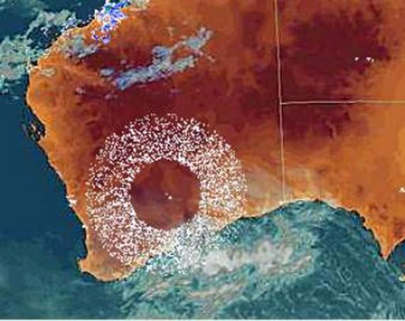 Anomalía aparecida en un radar meteorológico de Australia
