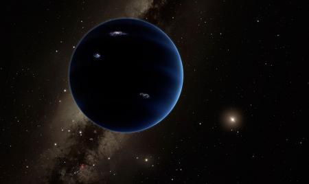 Esta representación artística muestra la vista distante del planeta Nueve. Se cree que el planeta es gaseoso, similar a Urano y Neptuno.