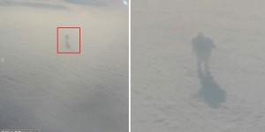 Pasajero de avión fotografía una extraña silueta con sombra sobre las nubes