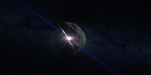 Recreación artística del impacto que creó el asteroide Bennu.