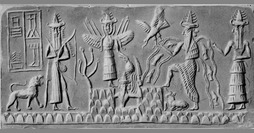 Los dioses sumerios Enki, Inanna y los primeros humanos deformes