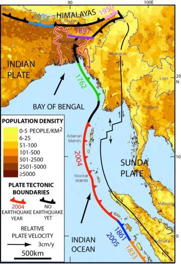 Bangladesh, Myanmar y la India oriental (todos juntos en la parte superior) son atravesadaos por una extensión del límite tectónico bajo el Océano Índico que en 2004 mató a unas 230.000 personas. La nueva investigación sugiere que aquello podría volver a ocurrir.