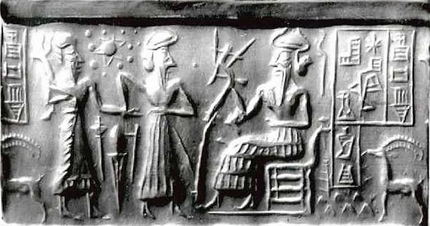 Este antiguo sello cilíndrico sumerio representa doce planetas en nuestro Sistema Solar