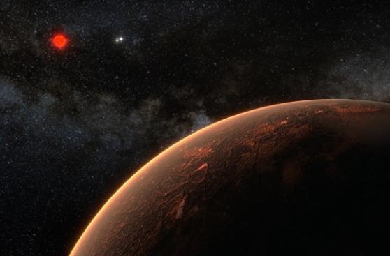 Concepción artística de «Próxima b» orbitando a la estrella enana roja