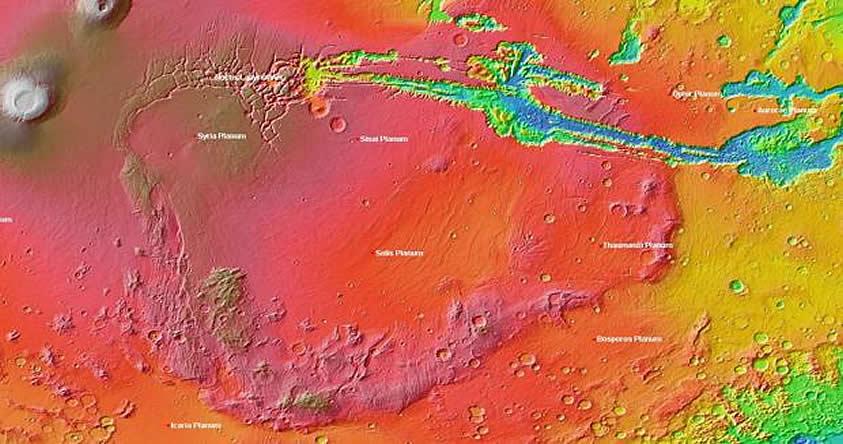 Descubren que Marte tuvo una cadena de volcanes tan grande como Norteamérica