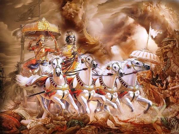 En el Mahabharata o «guerra de los bharatas» se describen las luchas de dos familias o clanes reales, los Pandavas y los Koravas, ambas antepasados comunes del mítico Rey Bharata.