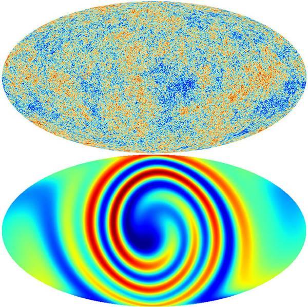 Un universo anisotrópico dejaría patrones indicadores en el fondo cósmico de microondas (parte inferior). Pero el CMB real (arriba) muestra sólo ruido aleatorio y no hay signos de tales patrones.