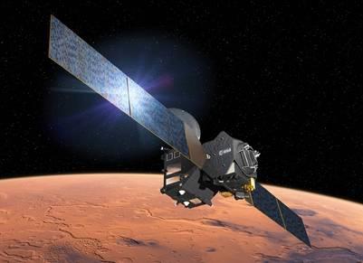 Recreación artística de la misión ExoMars acercándose a Marte.