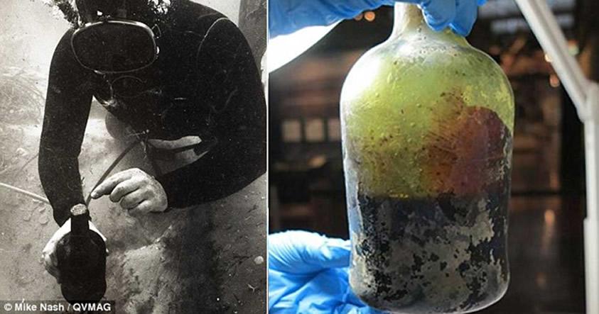 Izquierda: Descubrimiento de la antigua botella de cerveza entre los restos hundidos del Sydney Cove en los años 90. Derecha: La botella es sometida a estudio en el laboratorio.