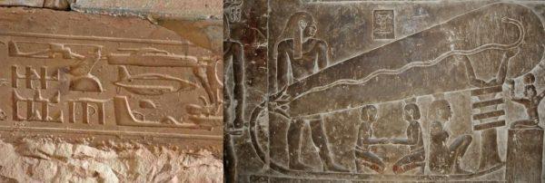 Antiguos jeroglíficos egipcios representando tecnología moderna