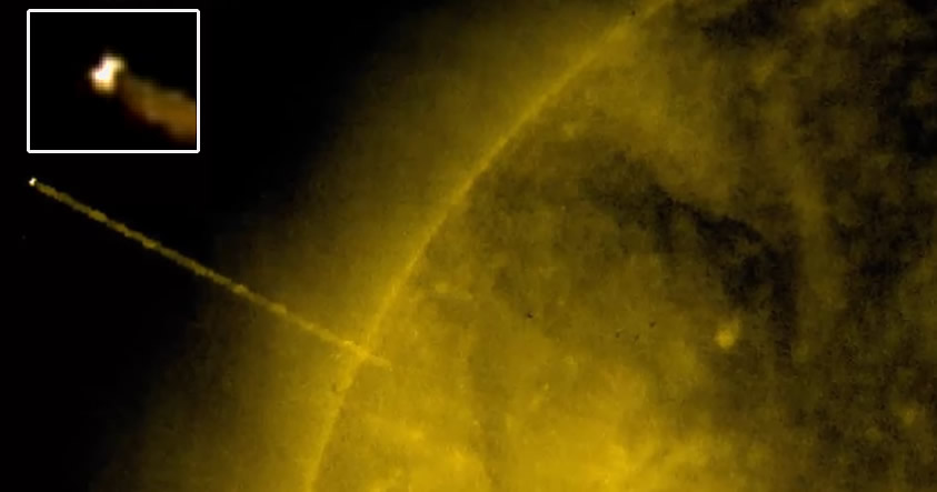 NASA capta un gigantesco OVNI saliendo del interior del Sol