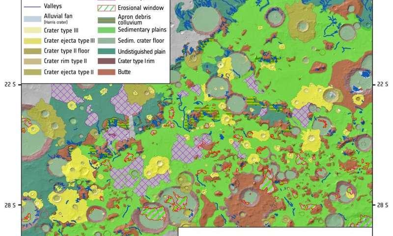 Este mapa geológico muestra el detalle de los llanos del intercrater al norte de la cuenca de Hellas. El aAnálisis del mapa proporciona nueva evidencia de un joven Marte caliente con la presencia de agua, a través de una escala de tiempo geológico; algo que tiene consecuencias importantes para la habitabilidad y la posibilidad de vida en el planeta.