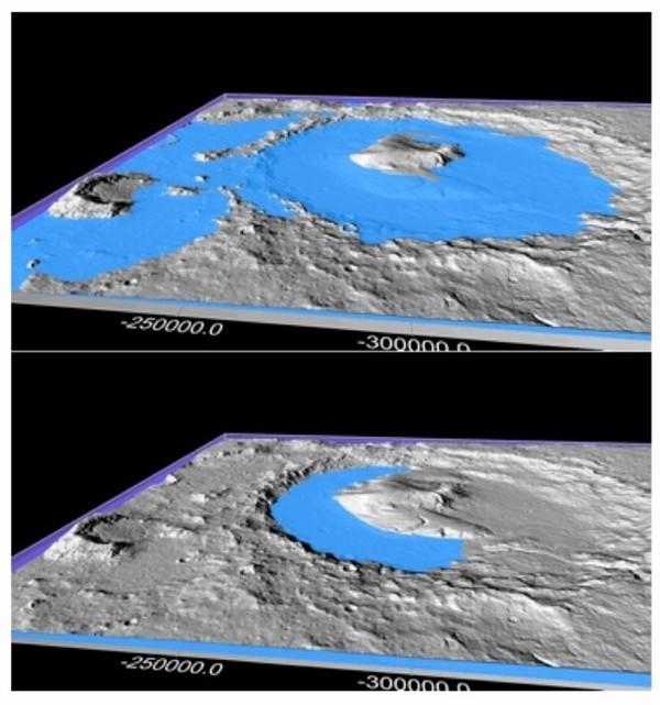 El Cráter Gale en la superficie de Marte alguna vez hace millones de años estuvo lleno de agua líquida, según resultados de laboratorio de Mars Science Laboratory (MLS). Un nuevo estudio de científicos de Penn State sugiere que ciclos climáticos dramáticos pueden haber producido períodos cálidos por tiempo suficiente para descongelar el planeta y que el agua líquida cree las actuales características que posee la superficie.