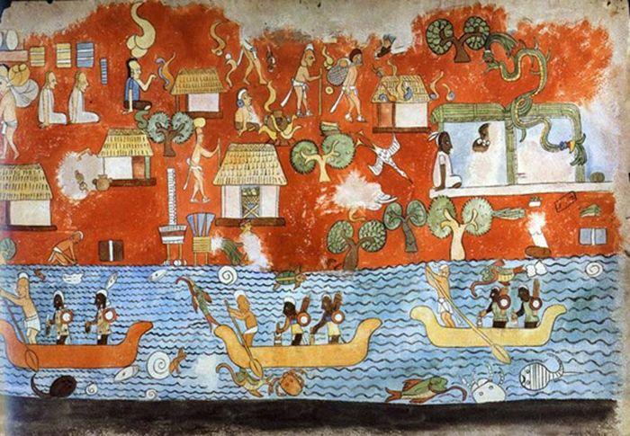 Mural del Templo de los Guerreros de Chichén Itzá.