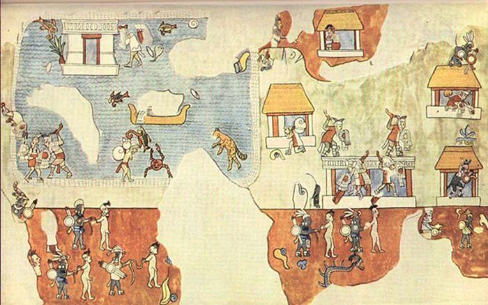 Pintura mural del Templo de los Guerreros de Chichén Itzá, México. La imagen muestra hombres de piel clara preparándose para retirarse por mar mientras otros defienden un poblado o son hechos prisioneros.