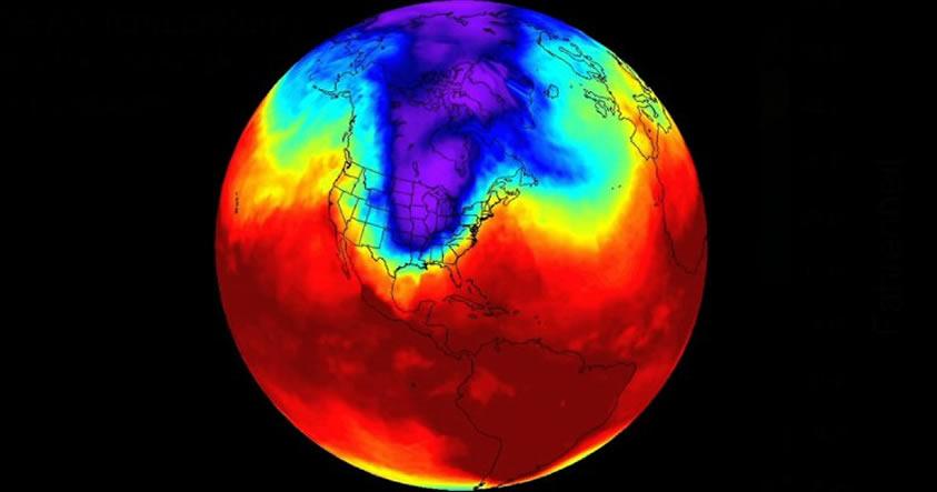 El vórtice polar descenderá sobre Norteamérica esta semana