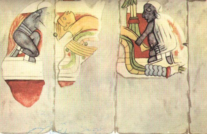 Murales de Chichén Itzá. Hombre de cabellos rubios a punto de ser sacrificado por dos hombres negros.