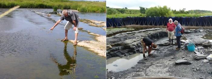 Foto: (A la izquierda) Stan Wood en 2010 apuntando a Willie's Hole, Escocia. Crédito: Jennifer A. Clack (derecha) La excavación organizada por National Museums Scotland en ese sitio en 2015. Crédito: Robert N.G. Clack