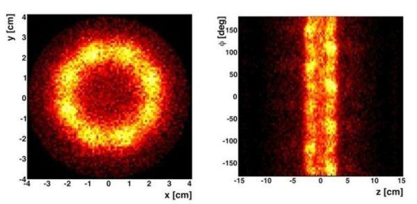 Imágenes publicadas por el grupo responsable de Alpha en la que se pueden ver los átomos de antihidrógeno entrando en contacto con las trampas magnéticas y después liberando luz. El principal propósito de este experimento era comp